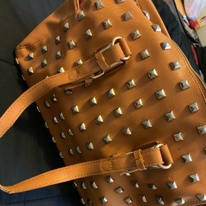 Brown large tote with decor on front
